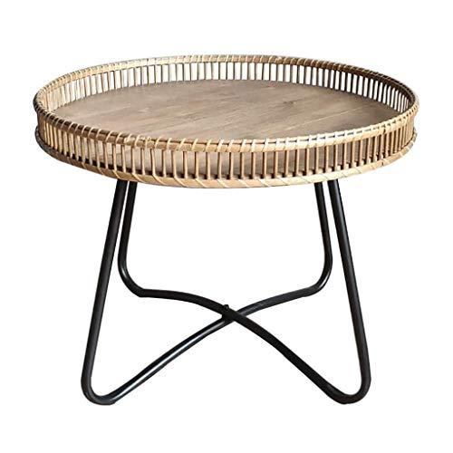 SH-tables Mesa de Centro, Mesa de Estar de Estilo japonés Sofá Mesa Lateral, (Rattan + Iron) Mesa de Esquina, Mesa Mini Esquina para el hogar, Estudio