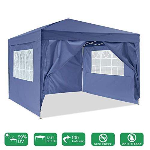 LYXCM Gazebo, 3 X 3m (9.8ft X 9.8ft) Outdroor Activity Shelte Steel Frame with Side Panel Waterproof Pop-up Event Shelter for Garden Wedding Parties Four Seasons Pavilion