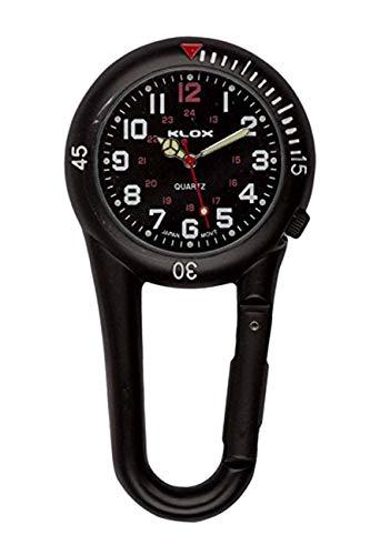 Klox schwarze Metall-Taschenuhr mit Karabinerbefestigung, schwarzes Zifferblatt, für Notdienst, Arzt, Krankenschwester, Unisex