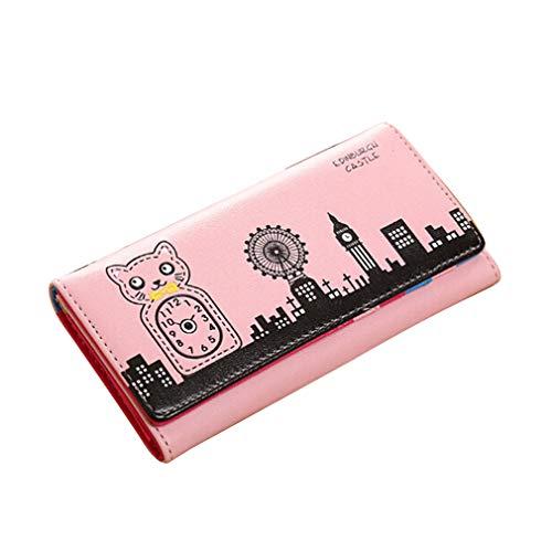 Kaned Lange Geldbörse niedlichen Comic-Haus Katze Uhr Haus Windmühle Muster Dame Brieftasche, rosa