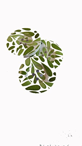 5 X 30 mm Green Leaf Bouton avec quatre trous avec une Blanc Dos.
