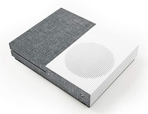 atFoliX Skin compatible con Microsoft Xbox One S, Sticker Pegatina (FX-Denim-Grey), Tejido de vaquero con aspecto de tela
