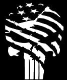 Keen American Flag Punisher Vinyl Decal Sticker|Car Truck Van Wall Laptop|White|5.5 in|KCD678