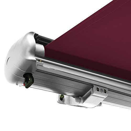 Nemaxx Kassettenmarkise elektrisch Vollkassettenmarkise mit LED, Markise weinrot, Kassette weiß, Funk Fernbedienung, wasserdicht 350x300 cm (3,5x3m)