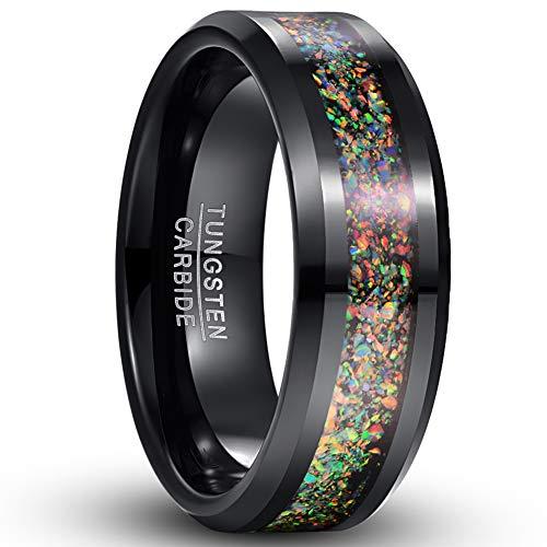 Vakki Ring Crushed Bunten Opal Wolfram Ring für Männer Hochzeitstag Band Ring 67(21.3)