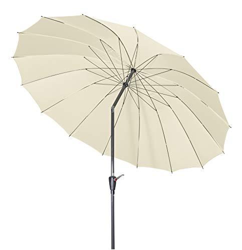 Doppler Aluminium Sonnenschirm Asia Look SL-AZ 250 Auto Tilt - Ideal für den Garten - ca. 250 cm - Knickbar 445457820AZ Nature
