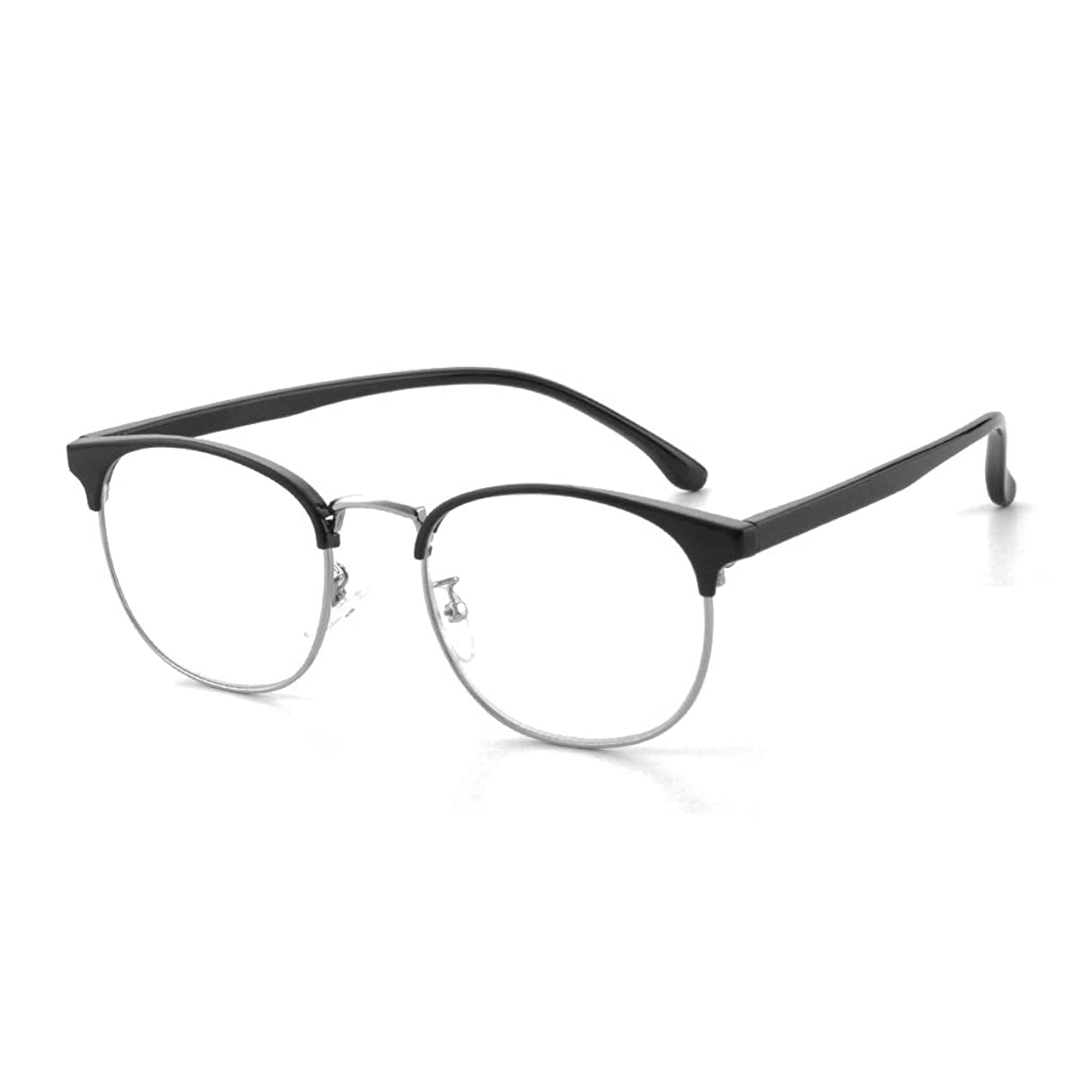 Gudzws Reading Glasses Anti Blue Light Blocking Prevent Eye Fatigue Frome Computer TV Cellphone Classic Vintage Big Rectange Frame with Metal Rim Black Unisex +2.00