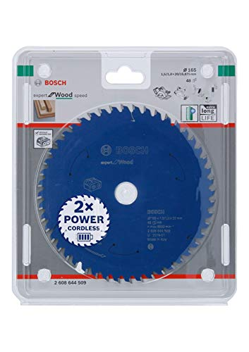 Bosch Professional 2608644509 Disco Expert for Wood, Madera, 48 Dientes, Accesorio de Sierra Circular sin Cable, 165 x 20 x 1.5 mm