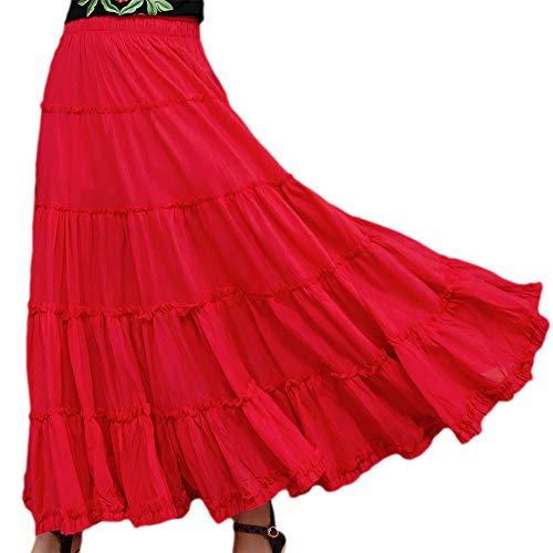 Saukiee Women's Bohemian Elastic Waist Long Skirt Cotton Circle Ruffle Broomstick Peasant Maxi Tiered Skirts Red