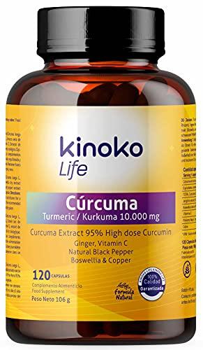 Cúrcuma 10000 mg | 475mg de Curcumina Pura | 120 cápsulas | 95% extracto | Jengibre, Pimienta Negra, Boswellia, Vitamina C y Cobre | Altamente Absorbible | Antiflamatorio para tus Articulaciones