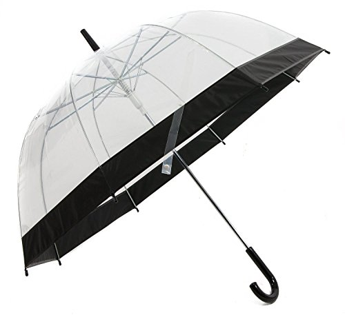 Pier 17 Bubble Umbrella with Birdcage Structure and Vinyl Trim (Clear/Black)