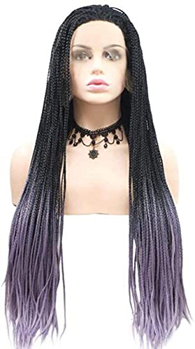 Parrucche anteriori in pizzo intrecciate Donne lunghe Braid Gradiente Purple Parrucca sintetica Vincita Africano Brasiliano Treccia Parrucche Rock Halloween Parrucca cosplay Costume anime Parrucca Par