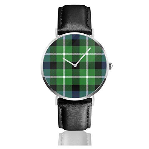Graham of Montrose MacLaggan Tartan Unisex Classic Casual Fashion Quarz Uhr Edelstahl Uhr mit Lederband