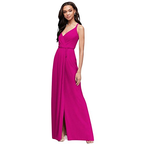 David's Bridal Double-Strap Long Georgette Bridesmaid Wrap Bridesmaid Dress Style F19755, Begonia, 2