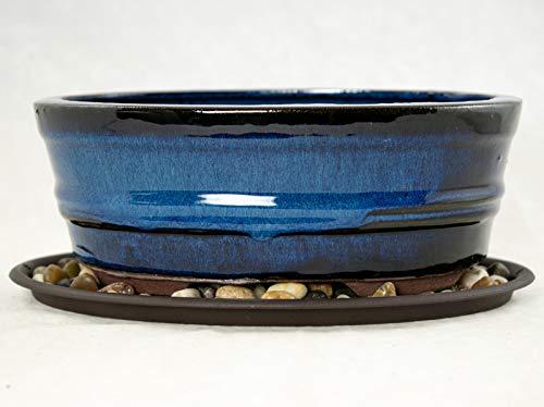 8' Oval Dark Blue Bonsai / Cactus & Succulent Pot + Tray + Rock + Mesh Combo