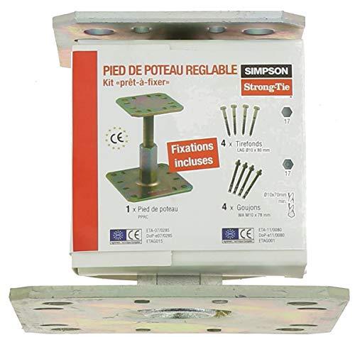 SIMPSON - Kit pied de poteau PPRC4 goujons 4 tirefonds - KIT FIX PPRC