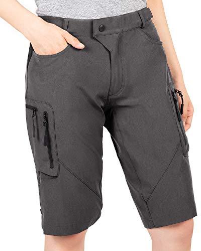 Cycorld MTB Hose Damen Radhose, Schnelltrocknend Mountainbike Hose mit Innenhose und hochwertigem Sitzpolster, Atmungsaktiv MTB Shorts Fahrradhose Damen Outdoor Bike Shorts (M, Dunkelgrau)