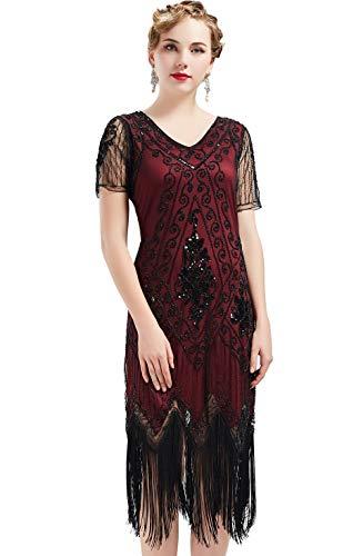 ArtiDeco - Vestido de mujer estilo años 20 con mangas cortas, disfraz de Gatsby para fiestas temáticas rojo/negro XXL