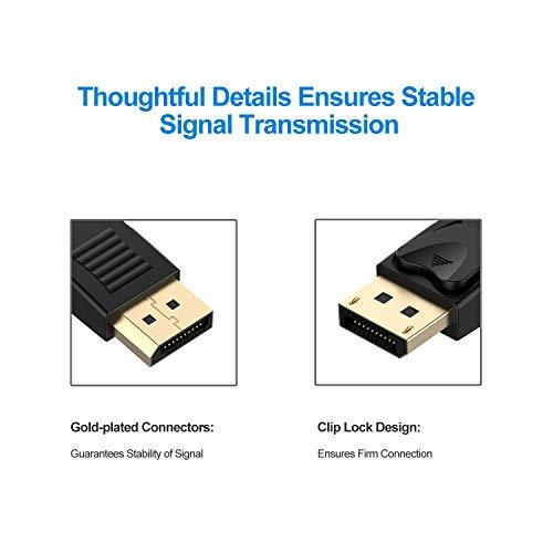 Rankie DisplayPort to DisplayPort Cable, DP to DP, 4K Resolution, 30Hz, 6 Feet, Black