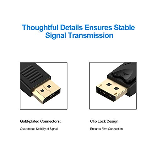 Rankie DisplayPort to DisplayPort Cable, DP to DP, 4K Resolution, 30Hz, 6 Feet, Black