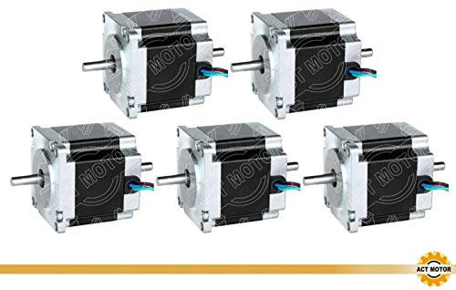 ACT Motor GmbH 5pcs 23hs6620b NEMA23Stepper Motor Dual Shaft Uni Polar 56mm Body 1.26Nm Torque φ6.35mm 6Wire 300mm Cable 2A with 1.8° 2.8V for CNC