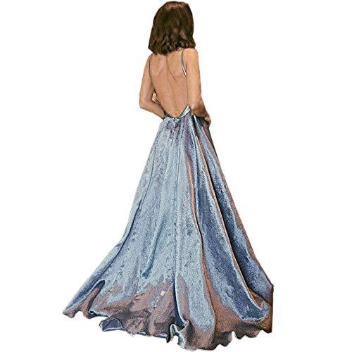 Cuteelf Damen Langarm Sexy Frau ärmellose Lace-up-Kleid mit tiefem V-Ausschnitt Cocktail-Abendkleid Deep Sexy Sling Neckholder-Kleid Maxi-Kleid Elegant Elegantes Kleid