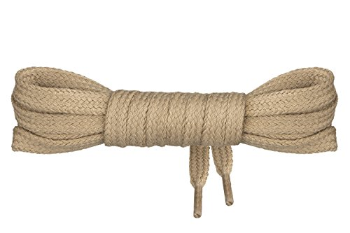 Mount Swiss©-SB-04-beige-120 Luxury-Schnürsenkel, 1 Paar Flache Schnürsenkel aus 100% Baumwolle, reißfest, 7 mm breit, Längen 45-200 cm