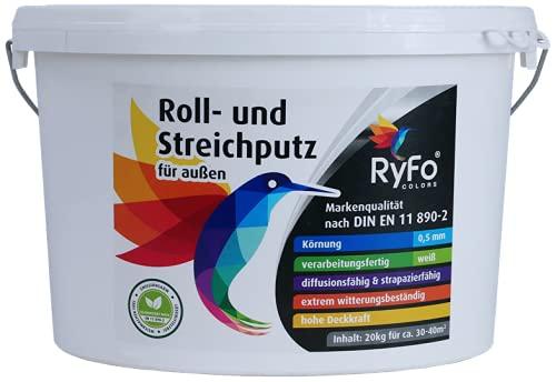RyFo Colors Roll- und Streichputz für außen 20kg (Größe wählbar) - Rollputz für den Außenbereich und Fassaden, strahlendes weiß mit edler feinkörniger Struktur, einfachste Verarbeitung
