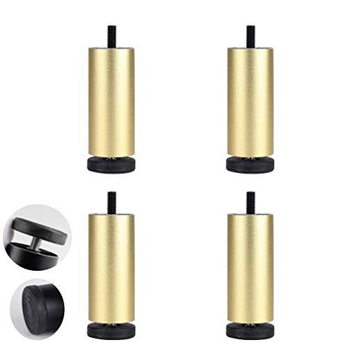 DX meubelpoten van metaal, 4 stuks, cilindrische poten voor bank, bed, reservepoten van aluminiumlegering, extreem tafel, tv-kast, verstelbare poten voor bank, met bouten