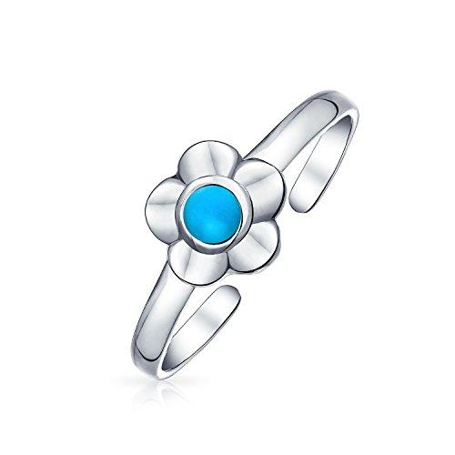 Bling Jewelry En Forma Flor Turquesa Estabilizada Acento Midi Banda Punta Anillo del Dedo De Pie Mujer 925 Plata Esterlina Ajustable