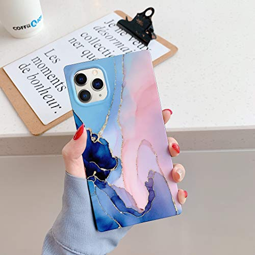 Square Marble iPhone 11 Pro Max Case,YTanazing Slim Thin Glossy Soft Flexible Shockproof Square Edges Fashion Phone Case Bumper Cover for Apple iPhone 11 Pro Max 6.5 inch (Blue Pink Marble)