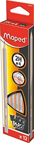 Maped Black'Peps, Matita Triangolare 2H #4, Grigio, Confezione da 12 matite