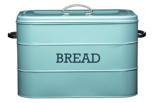 Classic Vintage Blue Steel Bread Bin, 34 x 21.5 x 25cm