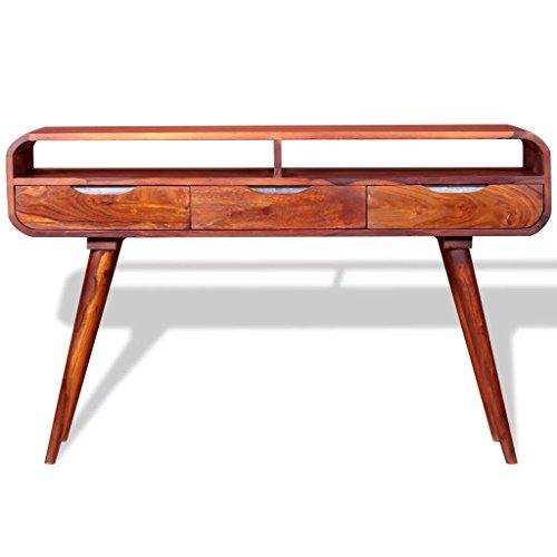 Tidyard klassischer Konsolentisch aus Holz mit 3 Schubladen, Massives Rosenholz mit Honigfarbenem Lack, Braun