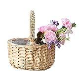 Siwan Cesta de Flores de Mimbre de Ratán, Canasta de Tejido A Mano con Asa, Huevos de Pascua Cesta de Caramelo Flor de Boda para Niña Cestas para La Decoración del Jardín del Hogar