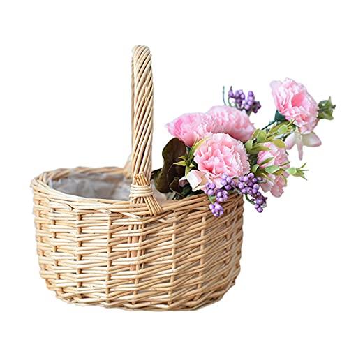 Zebroau, cestino per fiori in rattan, cestino da picnic, cestino in vimini, organizer portatile intrecciato a mano, con maniglia, cestino per la spesa per giocattoli da bagno e giocattoli per bambini