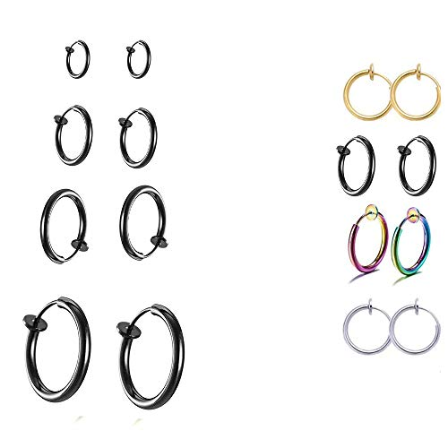 4 pares de pendientes retráctiles, clip para la oreja, sin pendientes de bobina perforadora, anillo de nariz falsa, aro,(12 mm-18 mm) (negro)