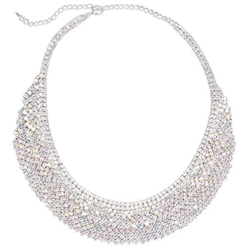 David's Bridal Layered Crystal Bib Necklace Style DMJ13251, Silver