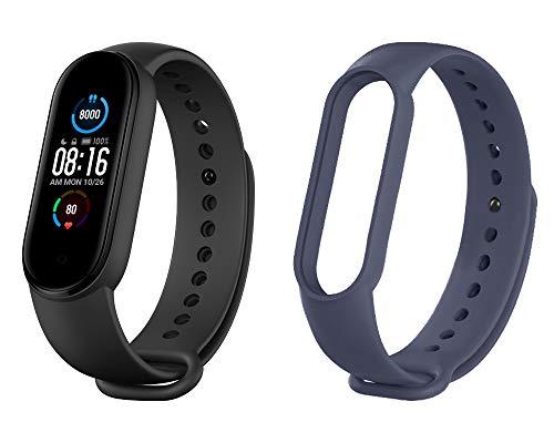 Xiaomi Mi Smart Band 5, braccialetto nero e colorato (Versione EU, Bracciale nero + blu scuro)