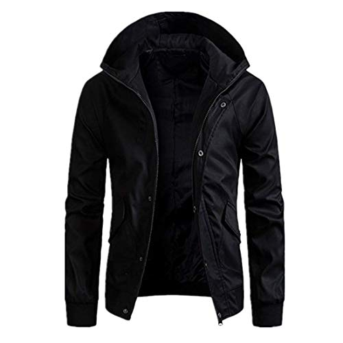 Jacket Men Jacket Men Transitional Coat Zipper Slim Windproof Men Hooded Jacket Fashion Men's Tops Outdoor Windproof Temperament Boutique Men Jacket Men Top Black. M