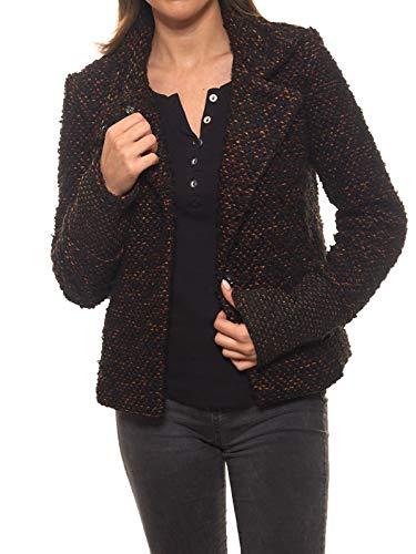 Laura Scott Kurz-Jacke modischer Damen Bouclé-Blazer Woll-Blazer Business-Blazer Braun/Schwarz, Größe:40