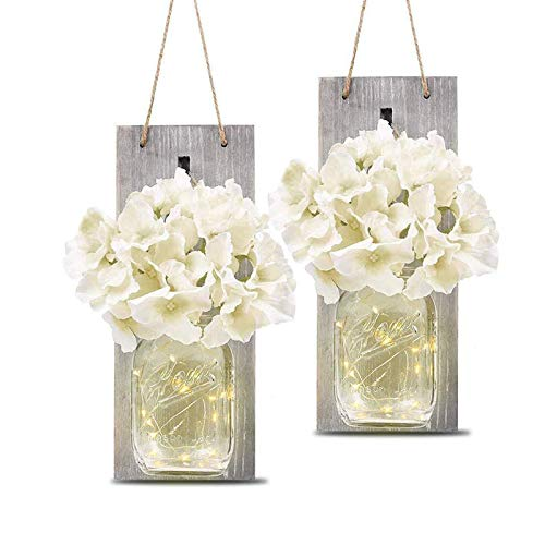 Mason Jar Sconce Wall Decor—Home Wall Decor with Two Remote...