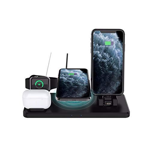 Nomi Cargador De InduccióN 6 En 1, EstacióN De Carga RáPida InaláMbrica De 10 W, Adecuado para Apple Watch Series 6/5/4/3/2/1, iPhone 12 Pro / 12/11 Pro MAX/XS/XR/X / 8 Plus / 8 Y Airpods Pro