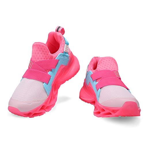 Deevike - Zapatillas deportivas transpirables para niños y niñas, 29-38EU, (1 blanco y rosa), 35 EU