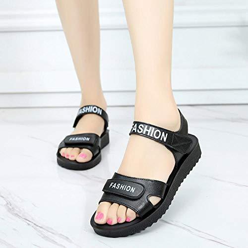 Douche open rug slippers,Antislip bovenkleding met platte onderkant sandalen, vrouwelijke zomer casual moederschoenen-black_37