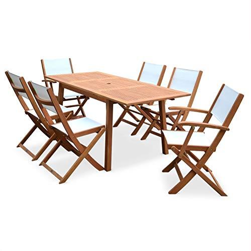 Conjunto de Mesa y sillas de jardín de Madera y textileno Banco, 6 plazas, Extensible 120/180 cm