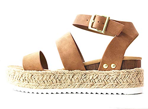 Soda Clip Womens Casual Espadrilles Trim Flatform Studded Wedge (8.5, Tan-Bryce)