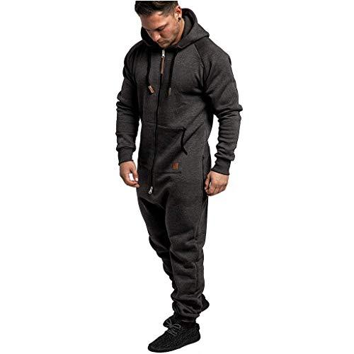 LIHAEI Einteiler Herren Jumpsuit Sweat Anzug Overall Jogger Jogging Sportanzug Trainingsanzug Jogginganzug (XL, Dunkelgrau)