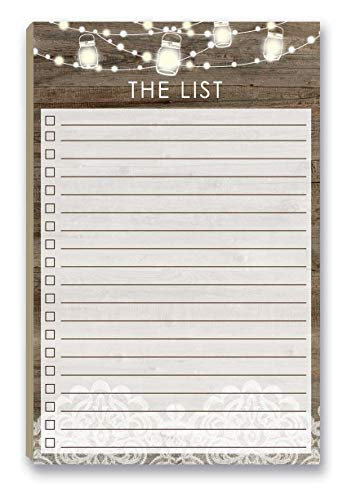 """Rustic To Do List Notepad with Magnetic Back - 8.5"""" x 5.5"""" - 50 Sheets - Made in USA - Grocery, Shopping, Daily Tasks List (Rustic Wood)"""