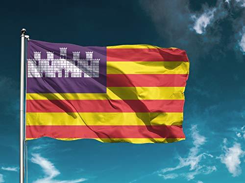 G | Bandera Islas Baleares | Medidas 150cm x 85cm | Fácil colocación | Decoración Exteriores (1 Unidad)